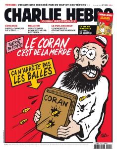 """Okładka """"Charlie Hebdo"""". Jak się okazało, Talmud również nie chroni przed kulami."""
