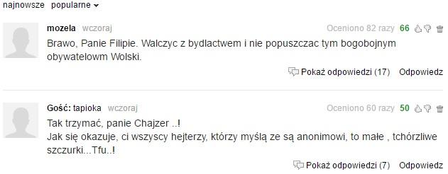 Najwyżej punktowane komentarze na gazeta.pl