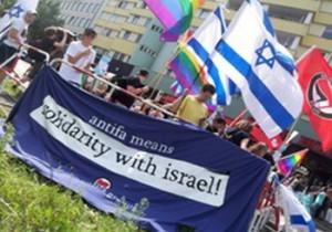 Na każdej antyfaszystowskiej demonstracji obecne są flagi Izraela, fot: wolnemedia.net