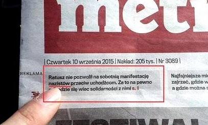 Metro - wydawnictwo Agora, ul. Czerska , fot: twitter
