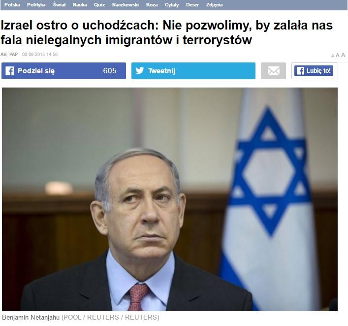 Żydowska Gazeta dla Polaków za wszelką cenę chce ściągać islamskich imigrantów do Polski, ale jeśli chodzi o Izrael to już mają odwrotne zdanie