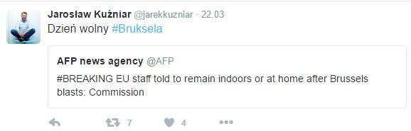 Król hejterów i trollingu - Jarek Kuźniar stwierdził, że Bruksela ma dzień wolny.