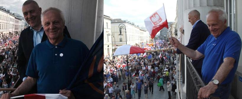 Giertych i Niesiołowski na balkonie podczas ostatniego marszu KOD - obaj kiedyś byli przyjaciółmi Kaczyńskiego, jeden z LPR, drugi z ZChN