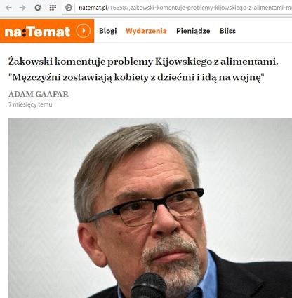 """Kijowski nie płaci, Żakowski go broni, a lisowy """"natemat"""" go uwiarygadnia - przykład na idealne wsparcie i zjednoczenie, fot: screen z natemat.pl"""